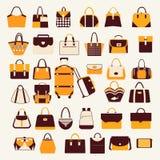 Metta le icone delle borse e delle borse - illustrazione Fotografie Stock