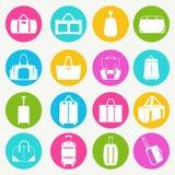 Metta le icone delle borse e delle borse - illustrazione Immagine Stock
