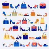 Metta le icone delle borse e delle scarpe di modo Fotografia Stock