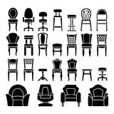 Metta le icone delle sedie Fotografia Stock