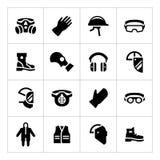 Metta le icone di dispositivi di protezione individuale Immagine Stock