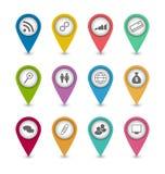 Metta le icone di infographics di affari per la disposizione del sito Web di progettazione Fotografie Stock Libere da Diritti