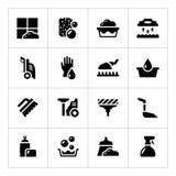 Metta le icone di pulizia Immagini Stock