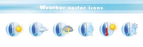 Metta le icone di vettore con i simboli di previsioni del tempo e del termometro e la meteorologia dei segni - clima - la tempera illustrazione di stock