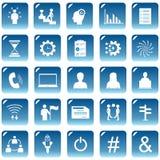 Metta le icone di web o i bottoni di colore blu royalty illustrazione gratis
