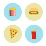 Metta le icone nei cerchi di alimenti a rapida preparazione Vettore Fotografia Stock