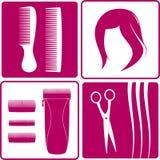 Metta le icone per il salone di capelli illustrazione vettoriale