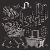 Metta le icone per il supermercato ed il commercio, le attrezzature commerciali, il registratore di cassa e le borse Immagini Stock