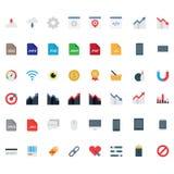 Metta le icone piane di vettore illustrazione di stock