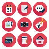 Metta le icone, progettazione piana, per l'affare, calendario, pubblichi, chiacchieri, foto, la macchina fotografica, lo sconto,  Immagini Stock Libere da Diritti