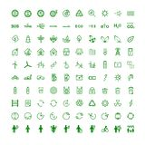 Metta le icone sull'ecologia di argomento illustrazione di stock