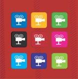 Metta le icone variopinte del videoregistratore Immagine Stock Libera da Diritti