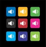 Metta le icone variopinte dell'altoparlante del volume Fotografia Stock Libera da Diritti