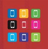 Metta le icone variopinte dello smartphone Immagine Stock