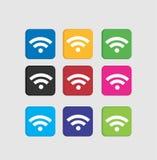 Metta le icone variopinte di Wi-Fi Immagini Stock Libere da Diritti