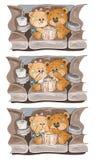 Metta le illustrazioni che di clipart di vettore Teddy Bears sta guardando un film Fotografia Stock Libera da Diritti