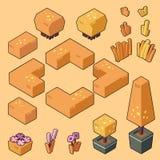 Metta le illustrazioni di vettore del cespuglio, dell'erba e degli elementi di autunno per il giardino/foresta illustrazione di stock