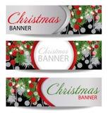 Metta le insegne del nuovo anno e di Natale con i rami dell'abete e le bacche dell'agrifoglio Illustrazione con il posto per il v Immagini Stock Libere da Diritti