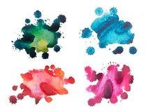 Metta le macchie dell'acquerello di colore, isolate su fondo bianco Immagini Stock Libere da Diritti
