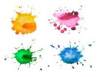 Metta le macchie dell'acquerello di colore, isolate su fondo bianco Fotografia Stock Libera da Diritti
