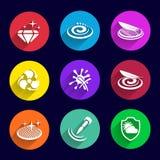 Metta le proprietà piane colorate delle icone dei cosmetici Fotografie Stock Libere da Diritti