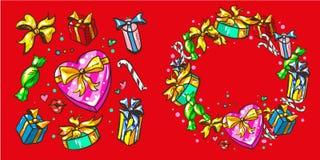 Metta le scatole con i regali, retro illustrazione di vettore di Pop art Festa, compleanno e struttura della corona di Natale Fotografia Stock
