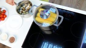 Metta le uova di quaglia nell'acqua e metta sopra la stufa archivi video
