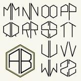Metta 2 lettere del modello per creare i monogrammi illustrazione di stock