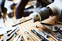 Metta lo strumento del falegname del banco Fotografia Stock