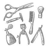 Metta lo strumento per il parrucchiere Incisione d'annata nera di vettore illustrazione vettoriale