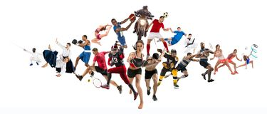 Metta in mostra il collage circa il kickboxing, il calcio, il football americano, la pallacanestro, il hockey su ghiaccio, il vol immagini stock libere da diritti