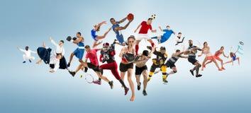 Metta in mostra il collage circa il kickboxing, il calcio, il football americano, la pallacanestro, il hockey su ghiaccio, il vol fotografia stock