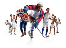 Metta in mostra il hockey su ghiaccio ecc di baseball di pallacanestro di football americano di calcio di pugilato del collage Fotografia Stock Libera da Diritti