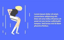 Metta in mostra l'illustrazione piana dell'icona della ragazza di allenamento di esercizio della donna di forma fisica Illustrazi illustrazione di stock