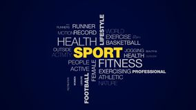 Metta in mostra la nuvola animata di parola di addestramento di olympics di stile di vita di salute di forma fisica di allenament illustrazione di stock
