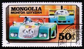 metta in mostra la vettura da corsa, serie di corsa di automobile, circa 1978 Immagini Stock Libere da Diritti