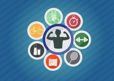 Metta in mostra le icone, icona di buon stile di vita sano Fotografia Stock Libera da Diritti