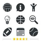 Metta in mostra le sfere Pallavolo, pallacanestro, baseball Fotografia Stock Libera da Diritti