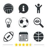 Metta in mostra le sfere Pallavolo, pallacanestro, calcio Fotografia Stock Libera da Diritti