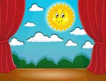 Metta in scena con il sole felice 1 Immagini Stock Libere da Diritti