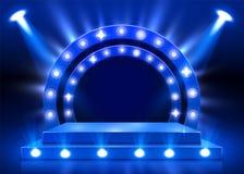 Metta in scena il podio con illuminazione, scena del podio della fase con per cerimonia di premiazione su fondo blu illustrazione di stock
