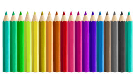 Metta senza cuciture colorato delle matite parallelamente isolato Fotografia Stock Libera da Diritti