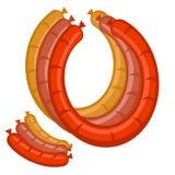 metta tre salsiccie a colori Immagini Stock