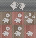 Metta un porcellino salvadanaio di 7 icone Immagini Stock