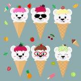 Metta una raccolta di sei orsi polari nell'immagine del gelato Un gelato glassante con una bacca, in uno stile del fumetto, si si illustrazione vettoriale