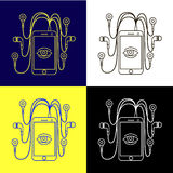 Metta uno smartphone con le cuffie quattro colori di blu bianco nero Fotografie Stock Libere da Diritti