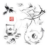 Metta in uno stile giapponese di sumi-e illustrazione vettoriale