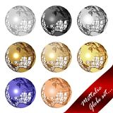 Mettalic globe set. Globe set of 8 globes isolated in white Stock Images
