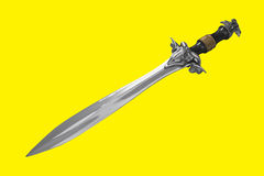 A mettalic sword. On a yellow background Stock Photo
