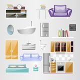 Mette gli accessori domestici Progettazione della mobilia illustrazione di stock